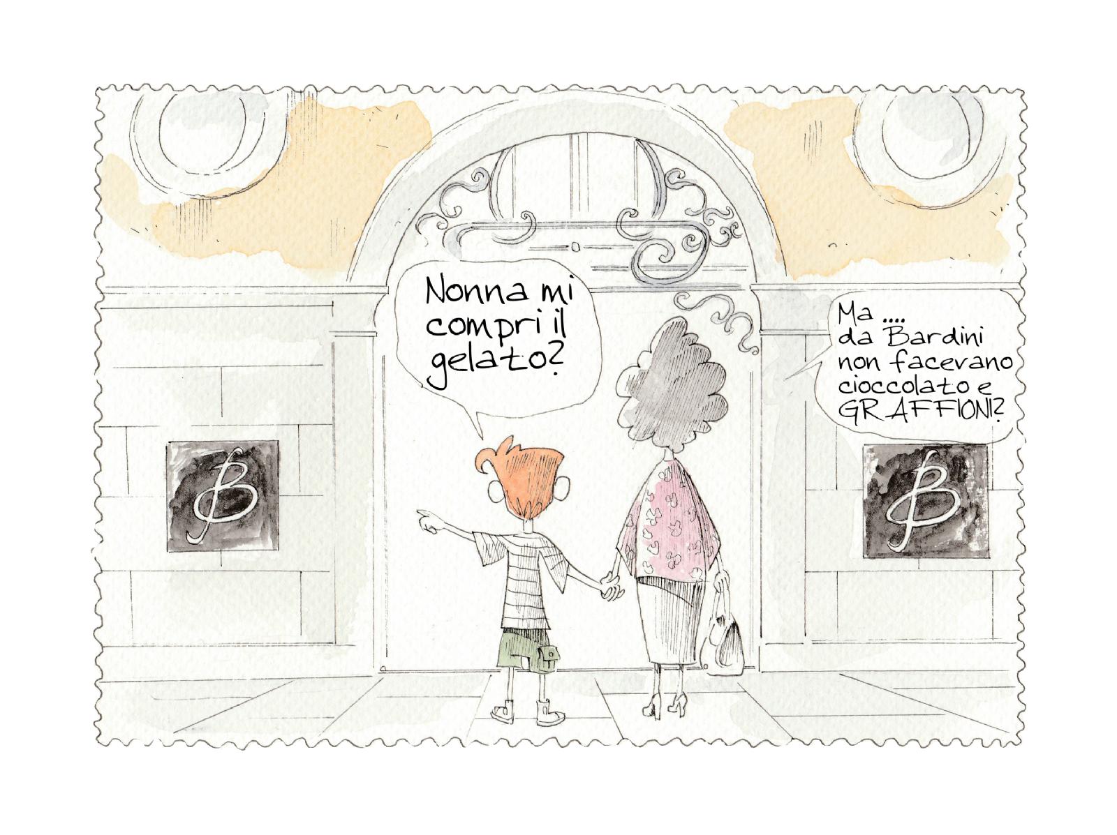 la prima vignetta del fumetto della nonna bambina