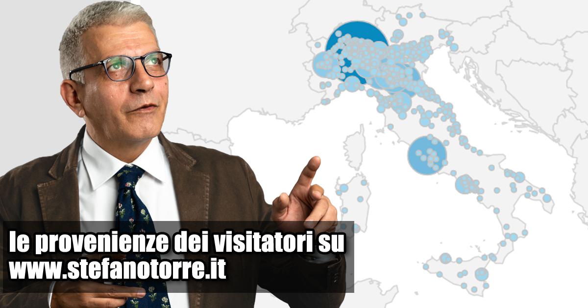 La carta d'Italia con i segnaposto delle visite al mio sito nell'ultimo anno.